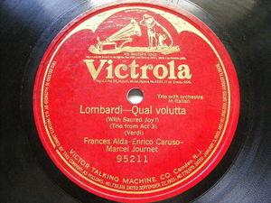 ALDA, CARUSO & JOURNET Victrola 95211 78 LOMBARDI Qual Volutta