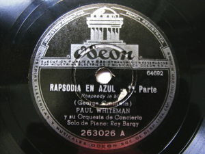 "12"" PAUL WHITEMAN Odeon 263026 Arg JAZZ 78 RAPSODIA EN AZUL"