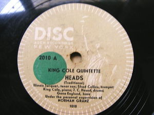 "12"" KING COLE QUINTETTE Disc 2010 JAZZ 78 HEADS / IT HAD TO BE YOU"