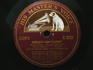 "12"" ARTIE SHAW Hmv 3231 JAZZ 78 CONCERTO FOR CLARINET"