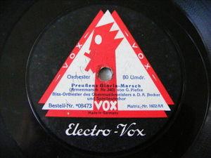 BLAS ORCHESTER Vox 8473 78rpm Fridericus Rex Grennadiermarsch