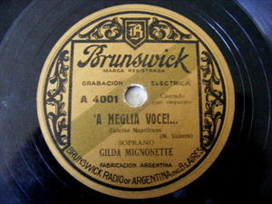 GILDA MIGNONETTE Brunswick 4001 NEAPOLITAN 78 COMM' A LL' ELLERA