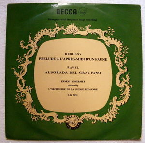 "ANSERMET Decca LW 5031 10"" RAVEL Alborada DEBUSSY Prelude A L'apres LP"
