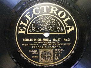 FREDERIC LAMOND Electrola 85 PINO 2x78 SET BEETHOVEN Mondschein Sonate