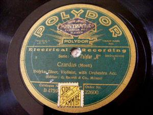 IBOLYKA ZILZER Polydor 22600 VIOLIN 78 CZARDAS/RUSSIAN