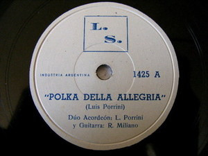 Rare PORRINI & MILIANO Private ACCORDION 78rpm ARGENTINA