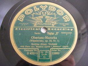 IBOLYKA ZILZER Polydor 22860 VIOLIN 78 OBERTASS NM