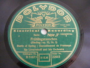 ILJA LIVSCHAKOFF Polydor 22915 78rpm FRUHLINGSRAUSHEN