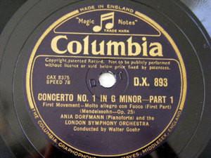 ANIA DORFMANN Columbia 893 PIANO 2x78 MENDELSSOHN Con1