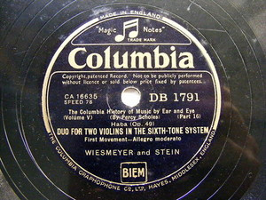 GOEHR / WIESMEYER adn STEIN Columbia 1791 78rpm HABA Duo For 2 VIOLIN SIXTH TONE