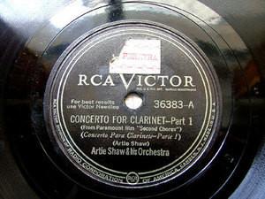 """12"""" ARTIE SHAW Victor 36383 JAZZ 78 CONCERTO FRO CLARINET"""