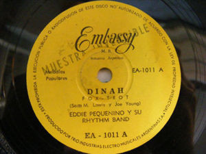 EDDIE PEQUENINO y SU RHYTHM BAND Embassy 1011 RARE Early ROCK Argentina PROMO 78 DINAH/JINGLE BELL