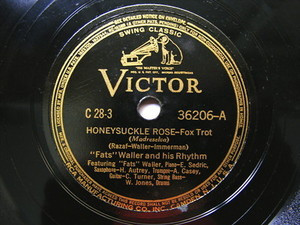 "12"" FATS WALLER Victor 36206 JAZZ 78 HONEYSUCKLE ROSE"