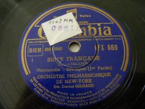 DARIUS MILHAUD Columbia LFX 860 2x78rpm Set SUITE FRANC 6579