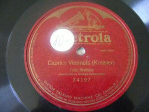 FRITZ KREISLER Victrola 74197 1Side 78 CAPRICE VIENNOIS