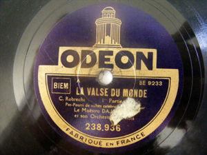 DAJOS BELA Odeon 238936 78rpm LA VALSE DU MONDE