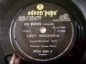 "7"" THE BEATLES Odeon Pops 8389 Argentin 33 LADY MADONNA"