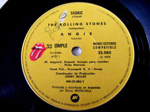 """7"""" ROLLING STONES """"Angie"""" RARE Argentina MUSIC HALL EP"""