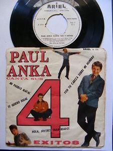 "7"" PAUL ANKA Canta 4 Exitos ARIEL 515 ARGENTINA EP PS"
