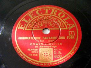 EDWIN FISCHER Electrola 4403 PIANO 78 BACH Chromatische