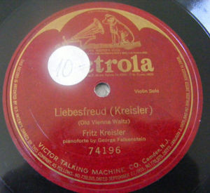 FRITZ KREISLER Victrola 74196 1Side 78rpm LIEBESFREUD