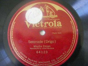 MISCHA ELMAN Victrola 64123 VIOLIN 78rpm DRIGO Serenade