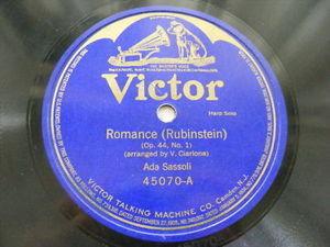 ADA SASSOLI Blue VICTOR 45070 HARP SOLO 78 ROMANCE