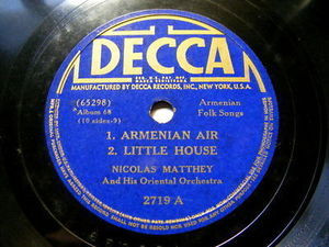 NICOLAS MATTHEY Decca 2719 ARMENIAN FOLK DANCE 78rpm
