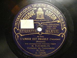 M FLEURDELYS Odeon 72026/8 VIOLIN 80rpm L'AMOUR EST FR