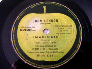 "7"" J. LENNON Apple 8781 ARGENTINA 45rpm IMAGINATE"