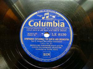 BRONISLAW HUBERMAN Columbia 8130 VIOLIN 78rpm LALO
