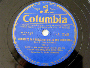 BRONISLAW HUBERMANN Columbia 329 2x78rpm Set BACH NM