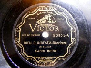 EVARISTO BARRIOS Scr VICTOR 80901 Arg FOLK 78rpm BIEN RUMBEADA / UN VIAJE EN OMNIBUS EX