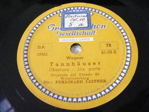 F. LEITNER Grammophon 6109 OPERA 78rpm TANNHAUSER