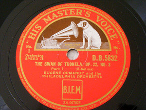EUGENE ORMANDY hmv 5832 78rpm THE SWAN OF TUONELA