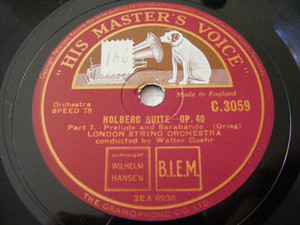 GOEHR & LONDON STR OCRH hmv 3059 2x78rpm HOLBERG SUITE