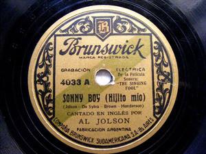 AL JOLSON Arg BRUNSWICK 4033 78rpm SONNY BOY