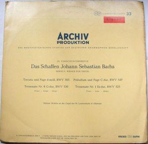 HELMUT WALCHA Archiv Stereo SAPM 198002 BACH LP PROMO