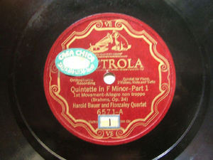 HAROLD BAUER & FLONZALEY QUARTET Victrola 6571 78rpm BRAHMS Quintet In F Minor