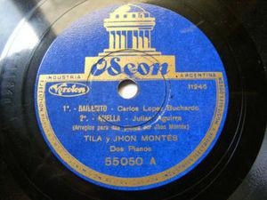 TILA & JOHN MONTES Odeon 55050 FOLK 78 BAILECITO
