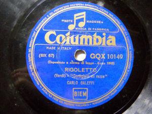 CARLO GALEFFI Columbia 10149 OPERA 78rpm RIGOLETTO