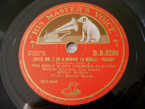 BUSCH CHAMBER PLAYERS & MOYSE hmv 8200 3x78 BACH Suite2