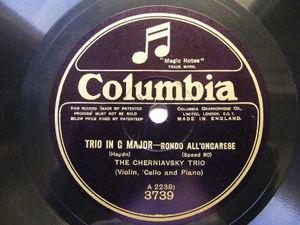 THE CHERNIAVSKY TRIO Columbia 3739 JAZZ VIOLIN, CELLO & PIANO 78 HAYDN Trio In G