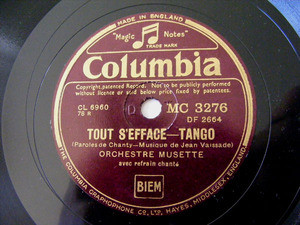 ORCH MUSETTE Columbia 3276 TANGO 78 BANDONEON D'AMOUR