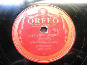 CORO TRAPP Orfeo Argentina 1002 CHORAL 78rpm LASCIATEMI MORIRE