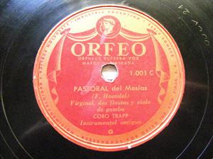 CORO TRAPP Orfeo Argentina 1001 78rpm INSTRUMENTAL ANTIGUO