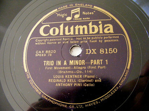 KENTNER, KELL & PINI Columbia 8150 3x78 TRIO IN A MINOR