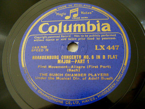 BUSCH CHAMBER PLAYERS Columbia 447 3x78 BACH Brademburg