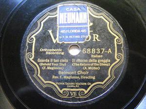 BELMONT CHOIR Victor 68837 78 VIVA IL VINO/GUARDA IL CI