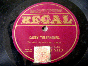 MICHAEL CASEY Regal 7118 TALKING 78rpm CASEY TELEPHONES